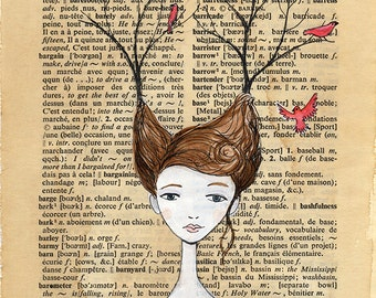Red Birds & Branches in Hair - Dictionary Book Page illustration, WIldlife Headdress, Pen and paint, print 5x7