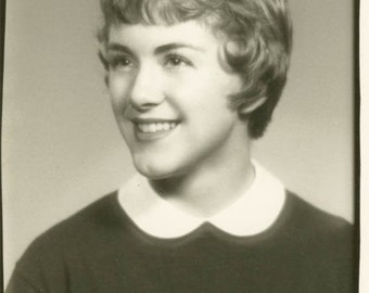 vintage photo 1950 Pixie Short Hair Dimple in Chin Pretty Young Lady
