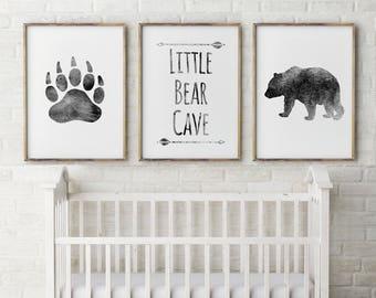 Baby boy, Nursery Decor,Bear Cave,Grey,little Bear,Bear nursery watercolor,Quote,wildlife,Set of 3,digital Prints,Nursery Art,gift for baby