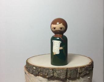 St. Simon - Hand painted Wooden Peg Saint Doll