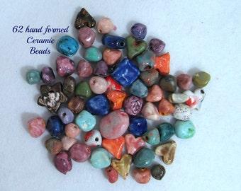 clay beads,handmade beads,artisan beads,organic beads, 62 loose beads,   # 136