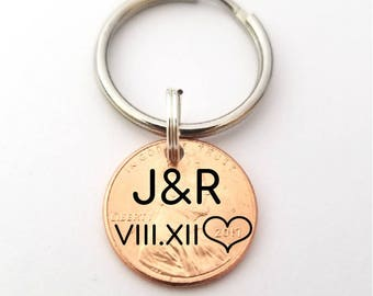 Roman Numerals Penny Keychain - Our Lucky Day - Lucky Penny - Boyfriend Gift - Coin Jewelry - Anniversary Gift for Boyfriend