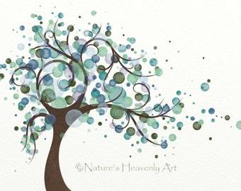 Green Blue Polka Dot Tree Wall Art Print 8 x 10, Wind Blowing Watercolor Tree Print, Nature Inspired Home Decor