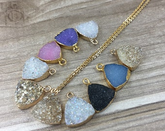 Wholesale Shimmer Agate Druzy Triangle Pendant with Electroplated Gold -- 12mm Drusy Druzzy Jewelry Charm For Earring Necklace DIY Making