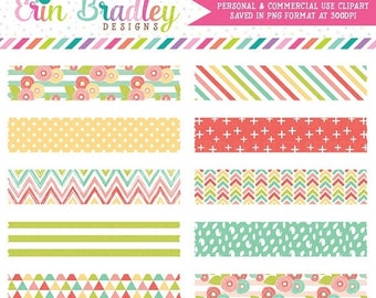 80% OFF SALE Muted Brights Digital Washi Tape Clipart Instant Download Commercial Use Clip Art Graphics