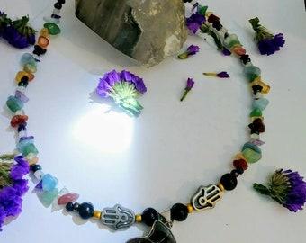 Chakra Healing necklace with Ammonite pendant