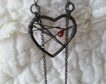 The Battered Heart Necklace, Valentine's Day Necklace, Blackened Silver Necklace, Heart with Blood Droplet