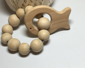 Natural Unfinished Wood Teething Ring/ Wooden Fish/ Organic Baby Toys
