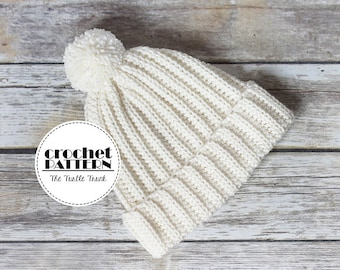 The Easy, Breezy, Ribbed Beanie Crochet Pattern, PDF Digital Download Crochet Pattern, Crochet Hat Pattern