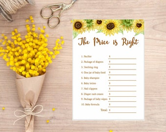 Sunflower Price is Right game, Sunflower Watercolor, Baby Shower Game, Printable, gla0023