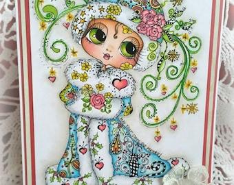 INSTANT DOWNLOAD Digital Digi Stamps Big Eye Big Head Dolls Digi  Img885 Zen Art TM By Sherri Baldy