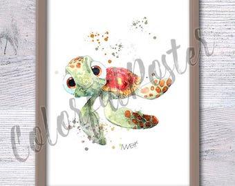 Finding Nemo poster, Disney kid art, Turtle Squirt, Nursery wall print, Finding Nemo baby shower, Pixar, Boys room décor, Sea Turtle, V19