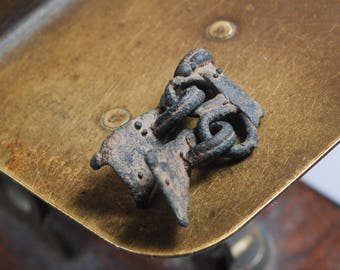 Antique brass connector with charm, pendant, charm, finding, dark patina
