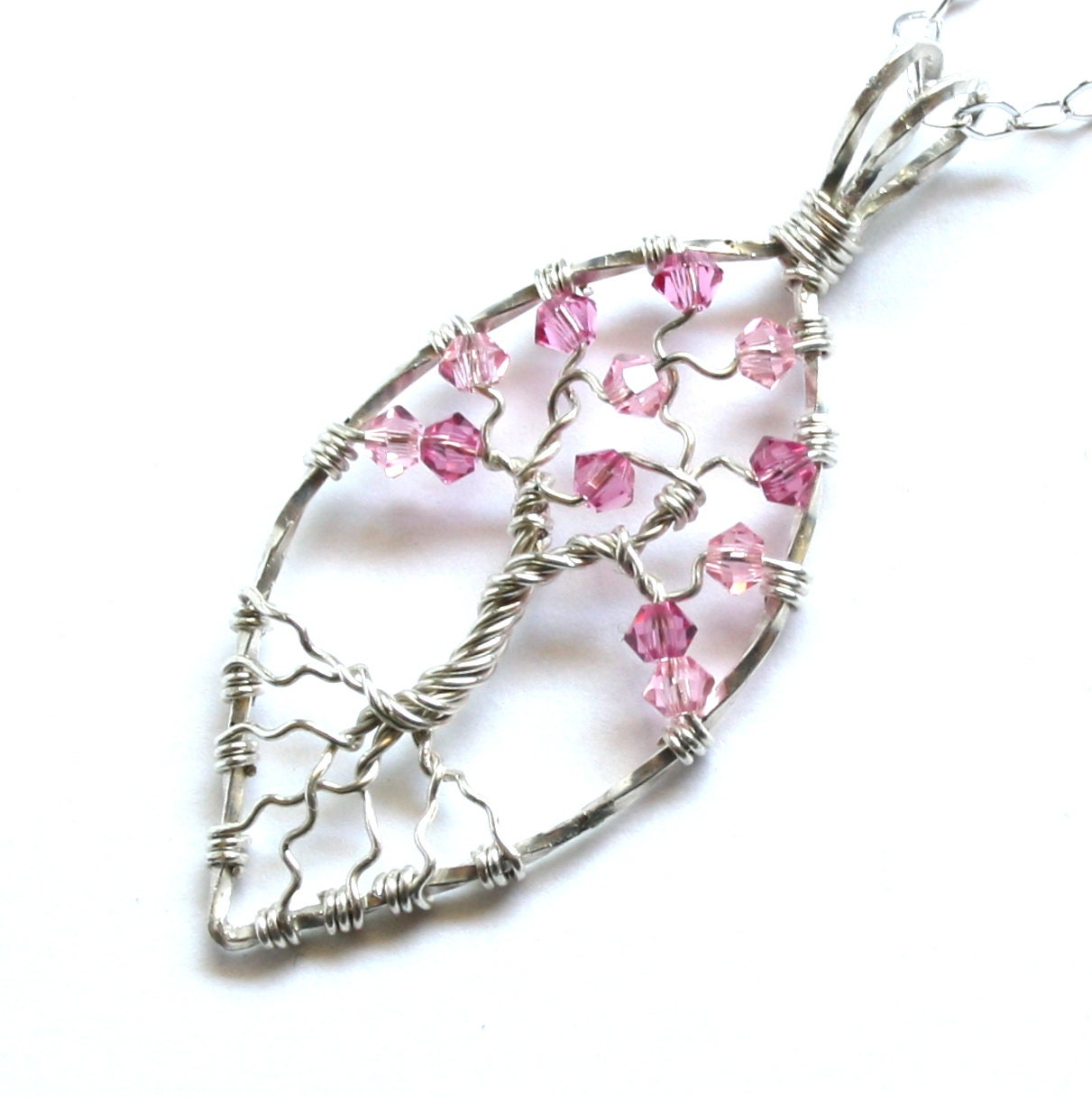 Tree of Life Pendant Necklace Cherry Blossom Pink Swarovski