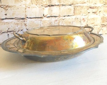 Antique Silver Serving Dish with Matching Lid Engraved Curvy Elegant Casserole Dish
