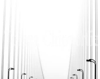 Golden Gate Bridge, San Francisco, Black and White Photography, Red, Historical Landmark, Bridge Home Decor, California Wall Art,11x16,12x18