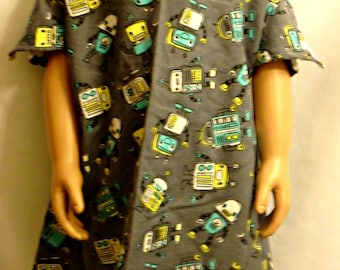 Child's IV Hospital Gown for Post Surgery FLANNEL Gown Fits Age 0-3 yrs Snaps Get Well Gift for Boy or Girl child ROBOTS