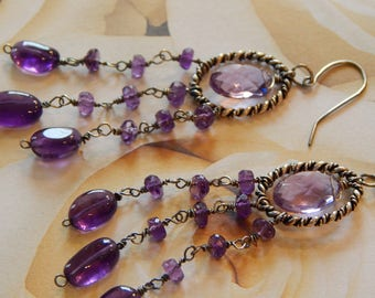 Bohemian earrings in oxidized silver with pink amethyst
