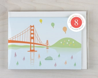 8 Greeting Cards Set - Golden Gate Bridge