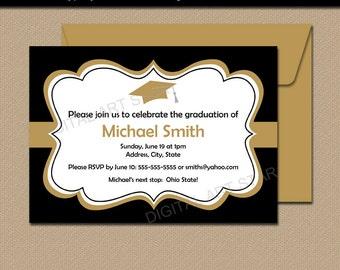 Black Gold Printable Graduation Invitation Template - Graduation Announcement - Graduation 2018 Party Supplies - EDITABLE Party Invite G1