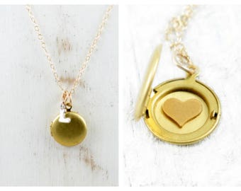 Miniature Locket Necklace, Personalized Locket, Initial Locket, Gold Locket, Heart Locket, Initial Jewelry, Key Necklace, Gift for Her