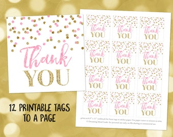 Printable Thank You Favor Tags Pink Gold Confetti for Wedding, Baby Shower, Bridal Shower Instant Digital Download