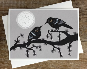 By A Winter Moon - Greeting Card