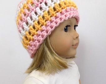 18 Inch Doll Hat, Striped Doll Beanie, Doll Accessories