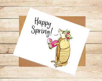 Cute Armadillo Card Armadillo Greeting Card Cute Animal Card Texas Card Hello Card Thinking of You Card