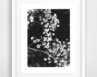 black and white cherry blossom art, wall prints, cherry blossom print, art poster, wedding gift, cherry blossom wall art, home decor