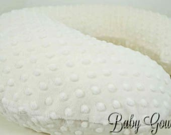 Personalized Minky Boppy Cover, Ivory Minky Dimple Dot, Nursing Pillow Cover, Double Minky, Pillow Sham, Custom Boppy Cover