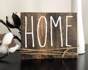 "Rae Dunn Inspired ""HOME"" Wood Sign - Farmhouse, Home Decor, Wall, Rustic, Weathered, Primitive"
