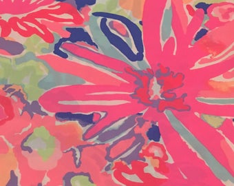 Cotton poplin fabric squares and pieces 6 X 6, 9 X 18  or 18 X 18 inches  Playa Hermosa/ pieces   ~Lilly Pulitzer~ Spring 2017