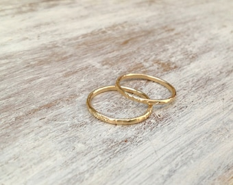 Stacking ring, gold ring, set of 2 stacking gold ring, knuckle rings, thin gold ring, hammered ring, tiny ring, gold knuckle rings -522