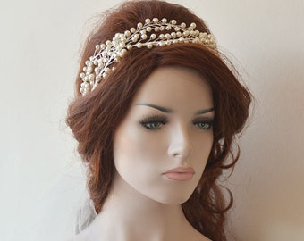 Wedding Tiaras, Wedding Tiara, Pearl Bridal Headpiece,  Pearl Wedding Crown,  Bridal Hair Accessory, Wedding hair Accessory