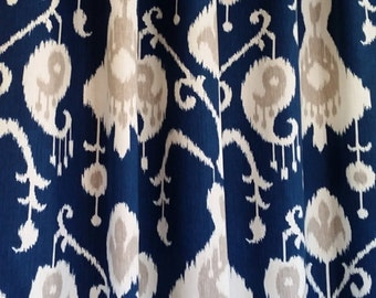 Navy blue curtains drapery panels window treatment designer 50W 2 panels Java Ikat Navy Blue Sand Cream, Custom panels