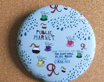 2.25 Inch Seattle Magnet - Fridge Magnet, Refrigerator Magnets, Pike Place Market Magnet, Coffee Magnet