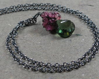 Green Quartz Necklace Pink Tourmaline Cluster Oxidized Sterling Silver Necklace