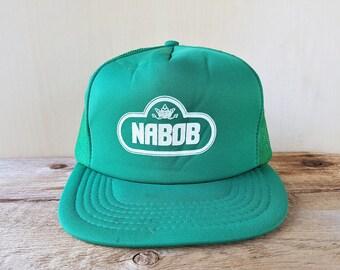 NABOB COFFEE Vintage 80s Trucker Hat Original Green Mesh Snapback Baseball Cap Adjustable Retro Ballcap