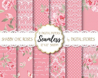 "Shabby Chic Digital Paper ""SHABBY LACE ROSE"" Floral Seamless, Tileable Background with watercolor roses  for scrapbooking, invitation, cards"