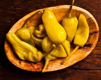 Hot Pepper- Golden Greek Pepperoncini- 62 day- 500 to 1000 SHU- extremely mild- 25 seeds