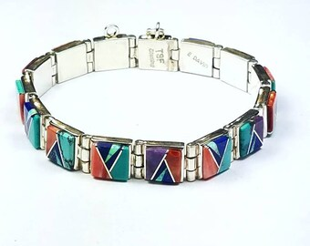 Native American Navajo handmade Sterling Silver channel inlay multi-stone link bracelet by Evangeline David