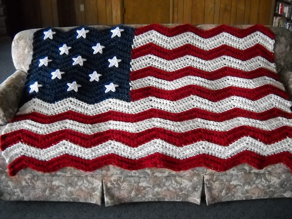 Modern Flag Afghan Crochet Pattern Model Easy Scarf Knitting