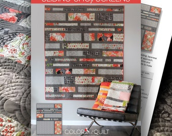 """Quilt Pattern (printed booklet) of SLIDING SHOJI SCREENS Quilt by Robin Pickens / jellyroll friendly / 60"""" x 74"""", 2 companion quilt plans"""