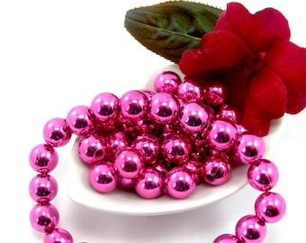 Acrylic bead 10 mm set of 10 fuchsia color CCB