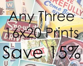 Choose Your Own Set of Three 16x20 Fine Art Photographs | Retro Home Decor | Mid Century Modern Art | Travel Trailer Decor | Save 15%