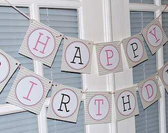 Milk & Cookies Printable Happy Birthday Banner | Pink | Girls | Instant Download