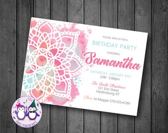Watercolor Mandala Birthday Party Invitation