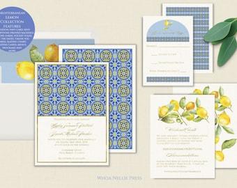Gold Foil Italian/Mediterranean Tile Lemon Wedding Invitations--Elegant, Real Foil