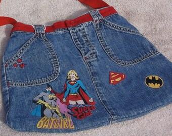 Bat Girl, Super Girl denim purse/tote